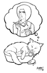 Jade and McFluffers Lineart