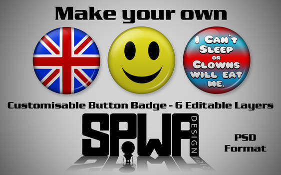 Customisable Button Badge 6 Layer PSD