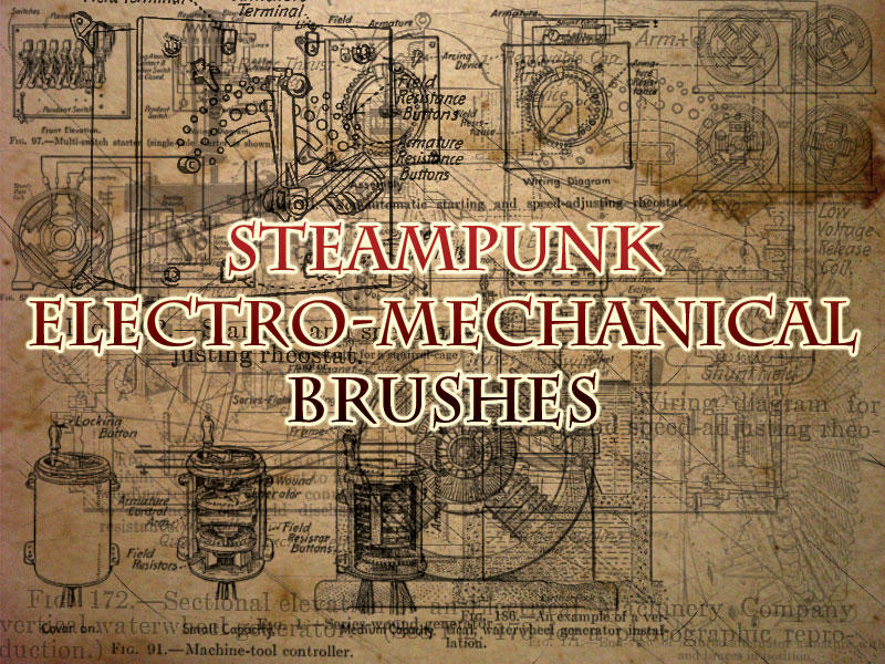 Steampunk machine Brushes by necrosensual-art