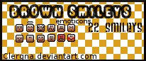 Brown character emoticons by Clergna