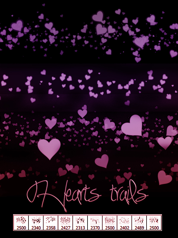 UNRESTRICTED - Hearts Trails Brushes by frozenstocks