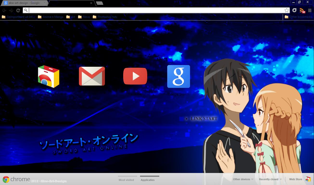 Google chrome theme guilty crown - Google Chrome Sword Art Online Kirito X Asuna By Akw Art Design
