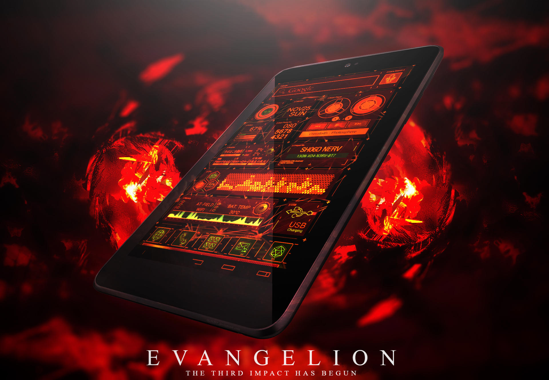 Hd Evangelion Nerv Sh06d Theme Android By Thenbt On