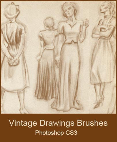 Vintage Drawings Brushes by KingaBritschgi