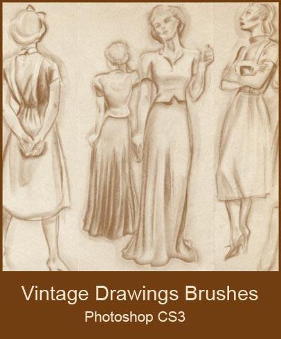 Vintage Drawings Brushes by KingaBritschgi