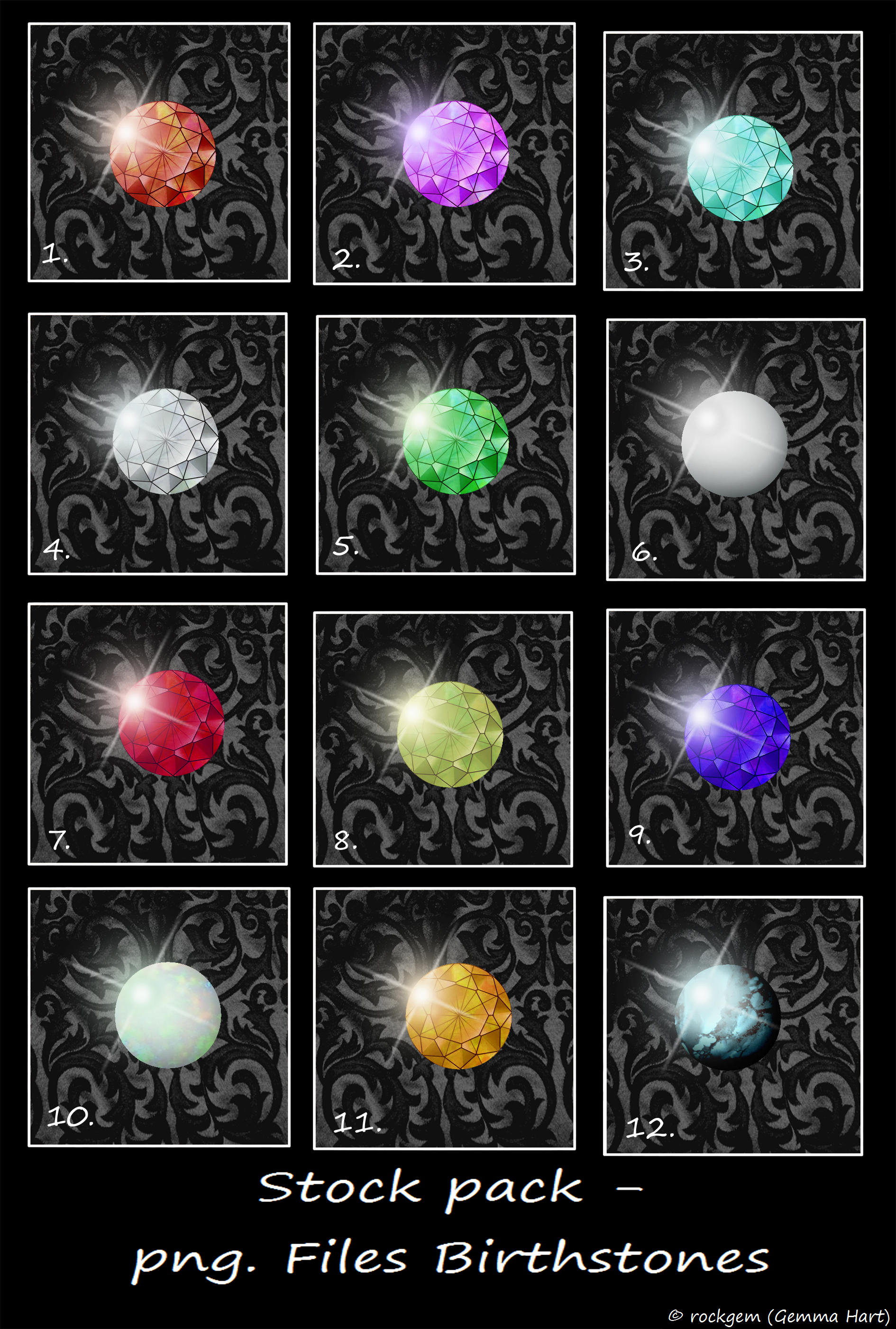 Stock Pack - Birthstones. by rockgem
