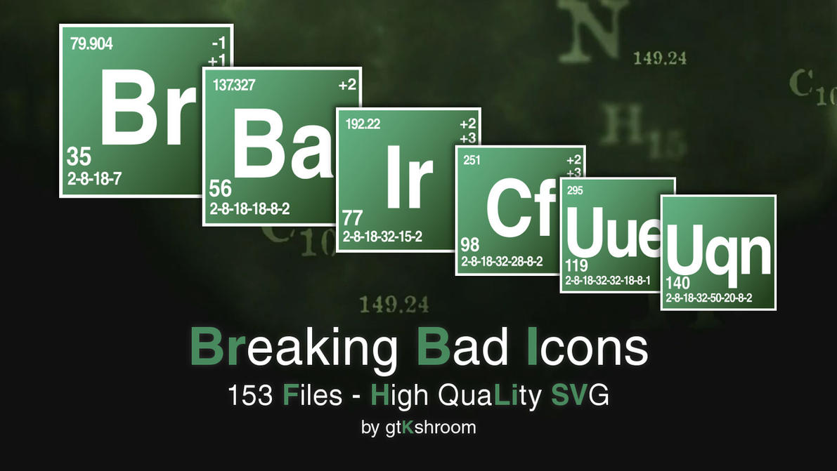Breaking bad periodic table font image collections periodic breaking bad icons svg by gtkshroom on deviantart breaking bad icons svg by gtkshroom gamestrikefo image gamestrikefo Images