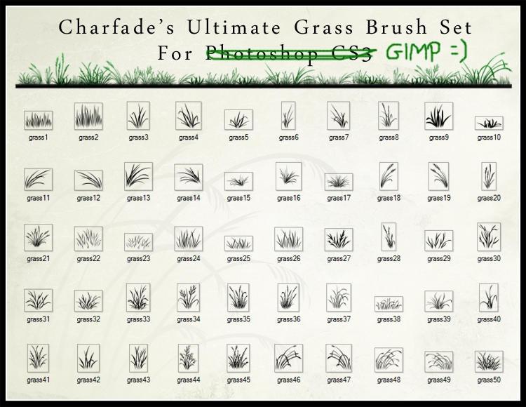 Grass Brush Set by Charfade by JustSilvia