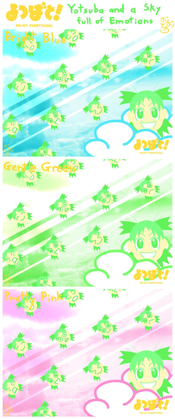 Yotsuba and a Sky full of Emotions (Wallpaper) by BonBonToro