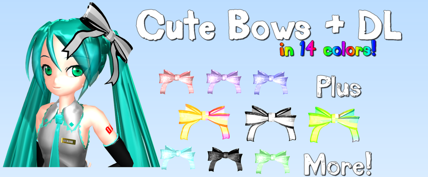 MMD - Cute Bows + DL by RoseBeri