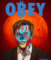 Obey Bitcoin! Elon Musk NFT - Hal Hefner They Live
