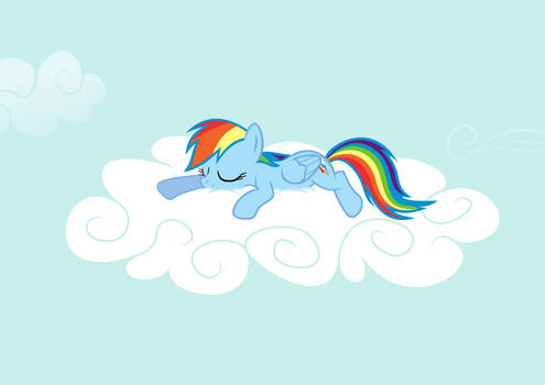 Rainbow Dash Sleeping On A Cloud