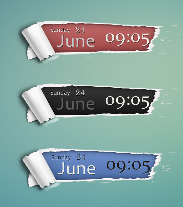 Ripped Paper Date/Time Skin by bblake