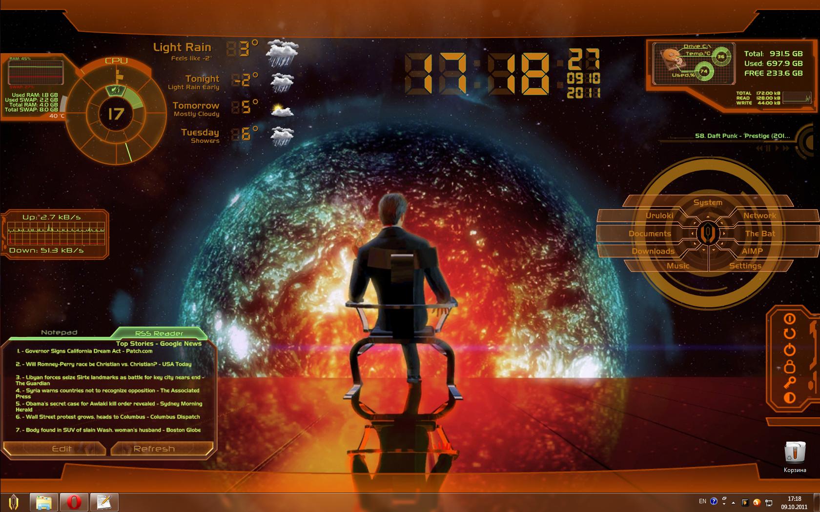 Mass Effect 2 Rainmeter Theme by UrulokiBurning