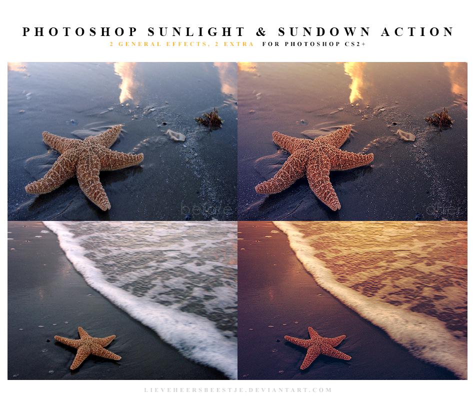 Photoshop sunlight and sundown action