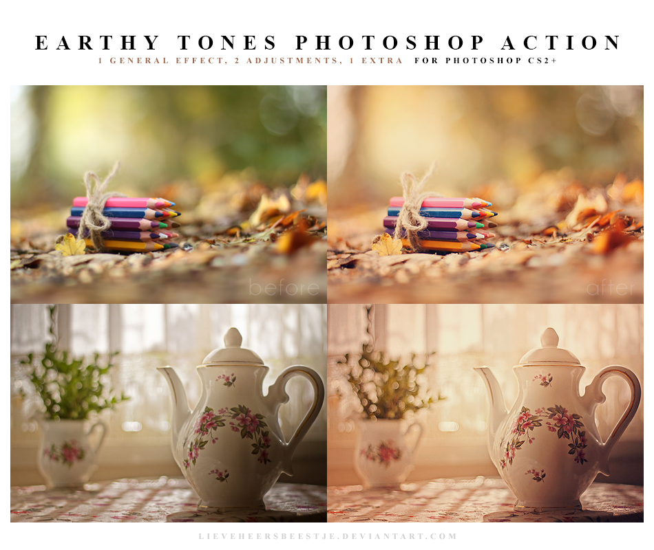 Earthy tones Photoshop Action by lieveheersbeestje