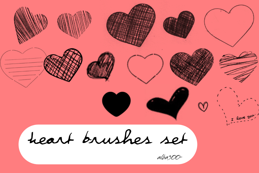 Heart Brushes set by alba300