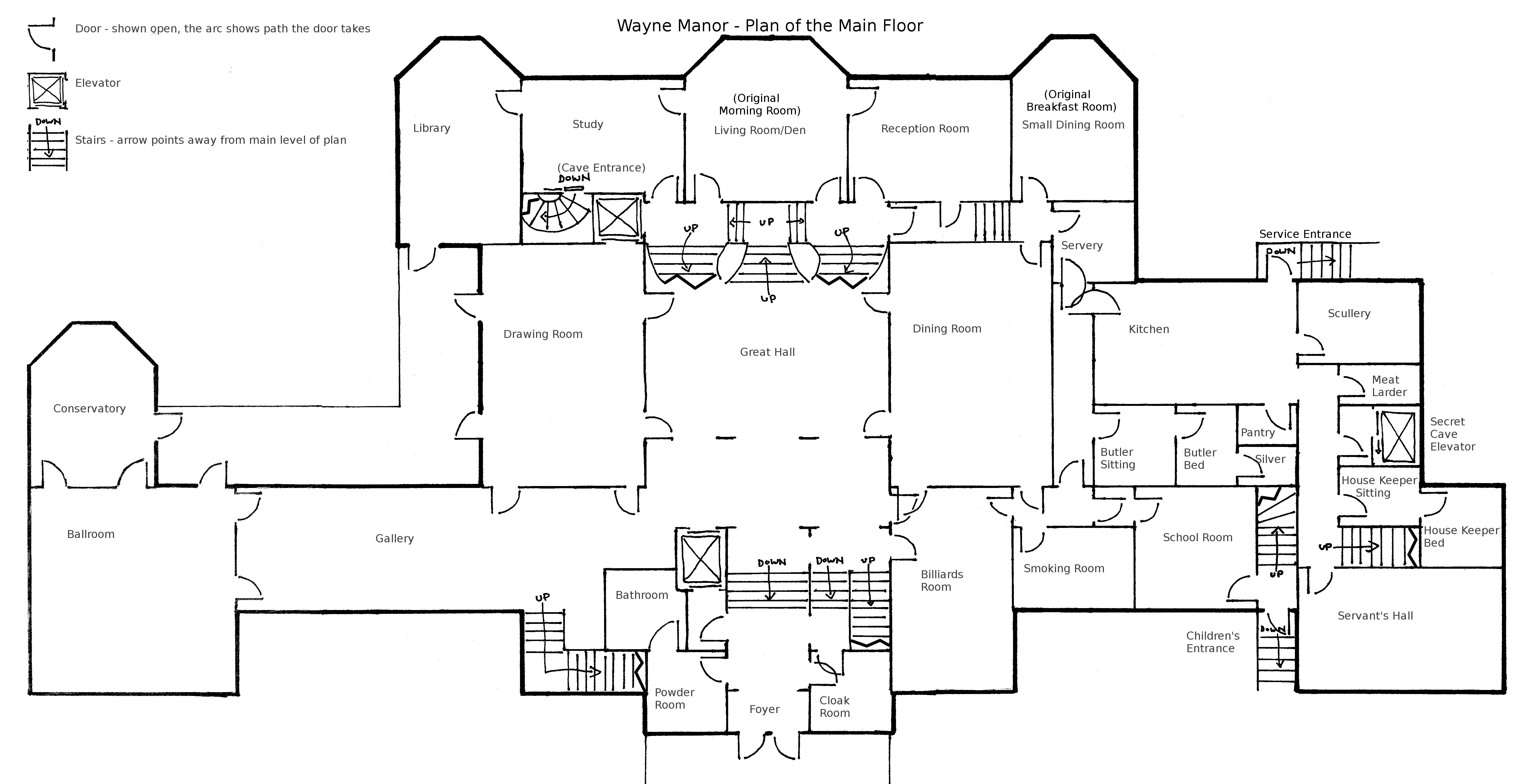 Wayne Manor Main Floor Plan By Geckobot On Deviantart