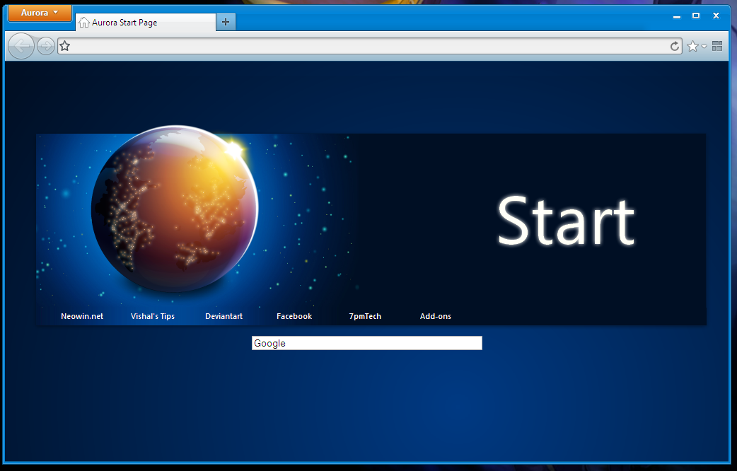 "Firefox 5 ""Aurora"" Start Page by link6155"