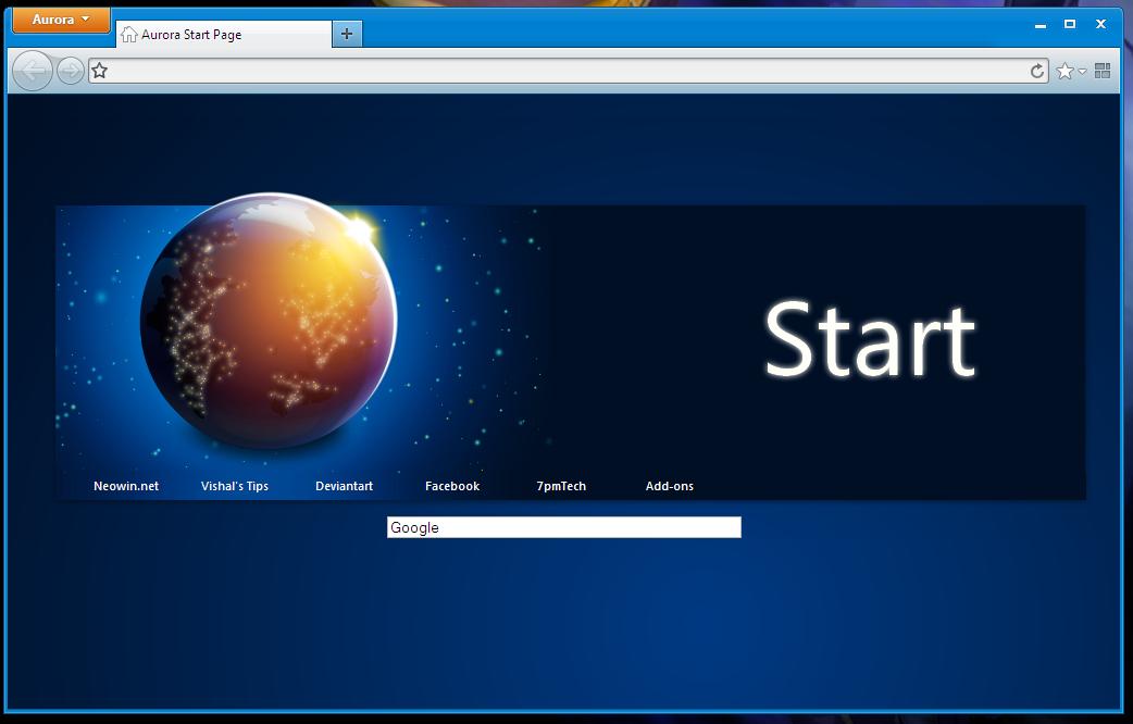 Firefox 5 'Aurora' Start Page by link6155