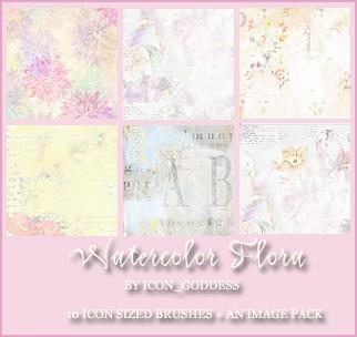 watercolor flora brushes by vblackangelv