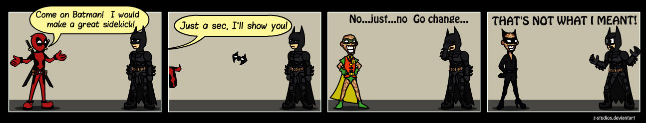 Comic- Deadpool and Batman Sidekick