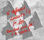 .:Free Lineart:. 5 cat headshots