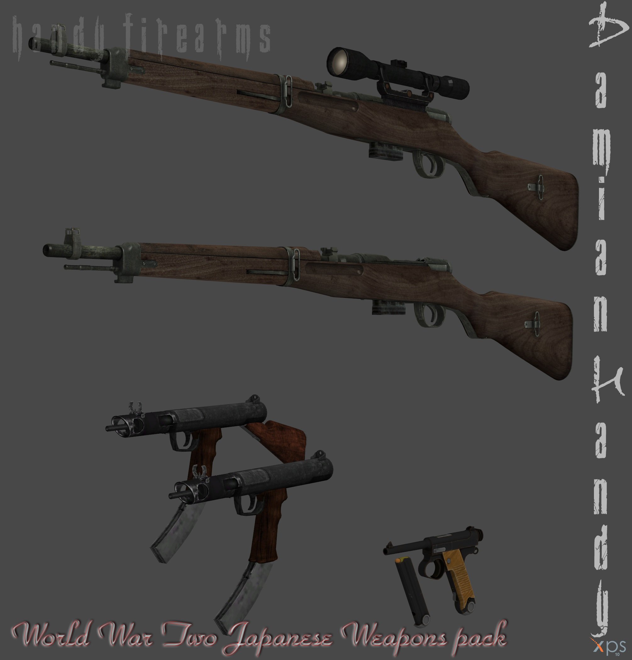 Japanese WWII Weapons Pack for XPS and XNALara by