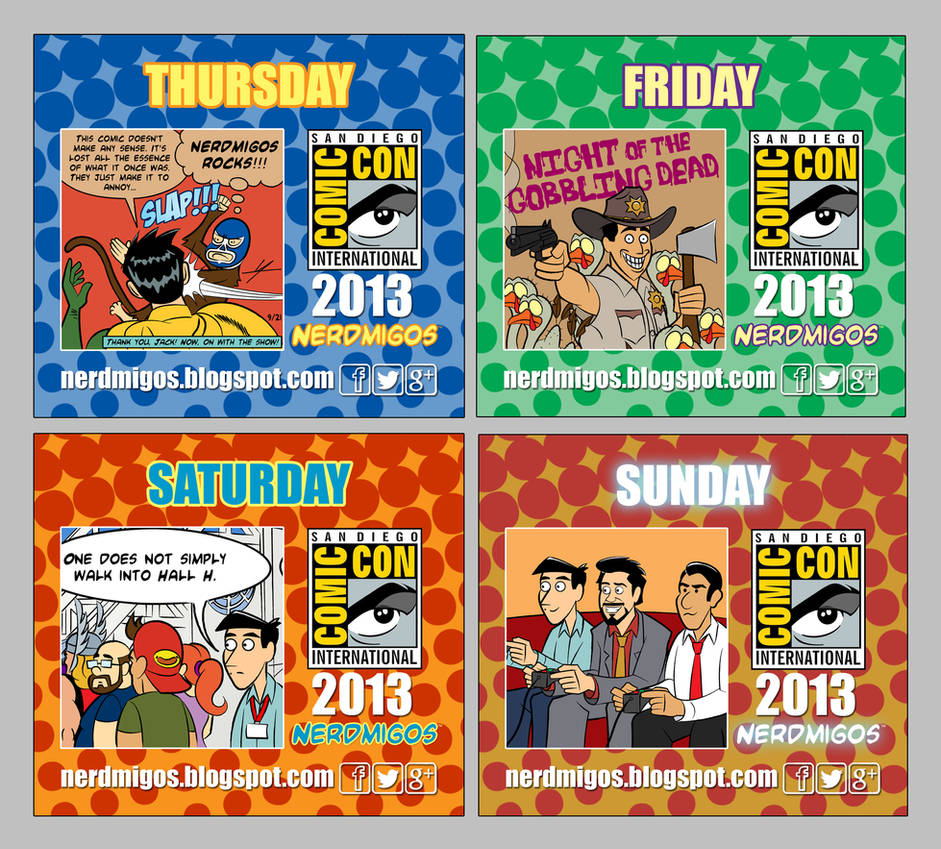 Nerdmigos Print N' Play Comic-Con 2013 Badge Set by IAMO76