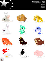 Chinese Zodiac icon set by wizzyloveszebras