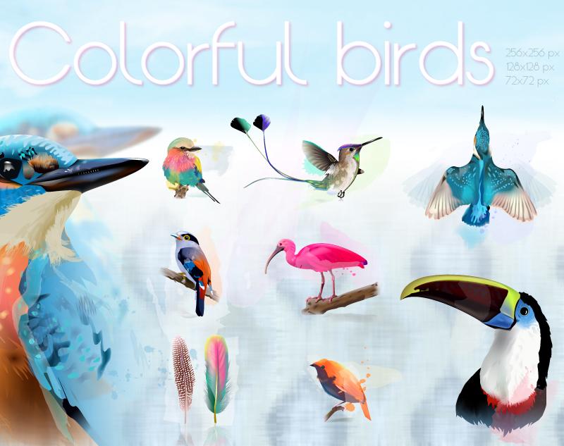 Colorful Birds by wizzyloveszebras