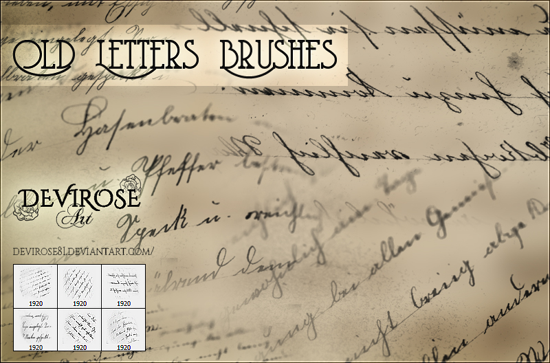Old Letters Brushes by Devirose81
