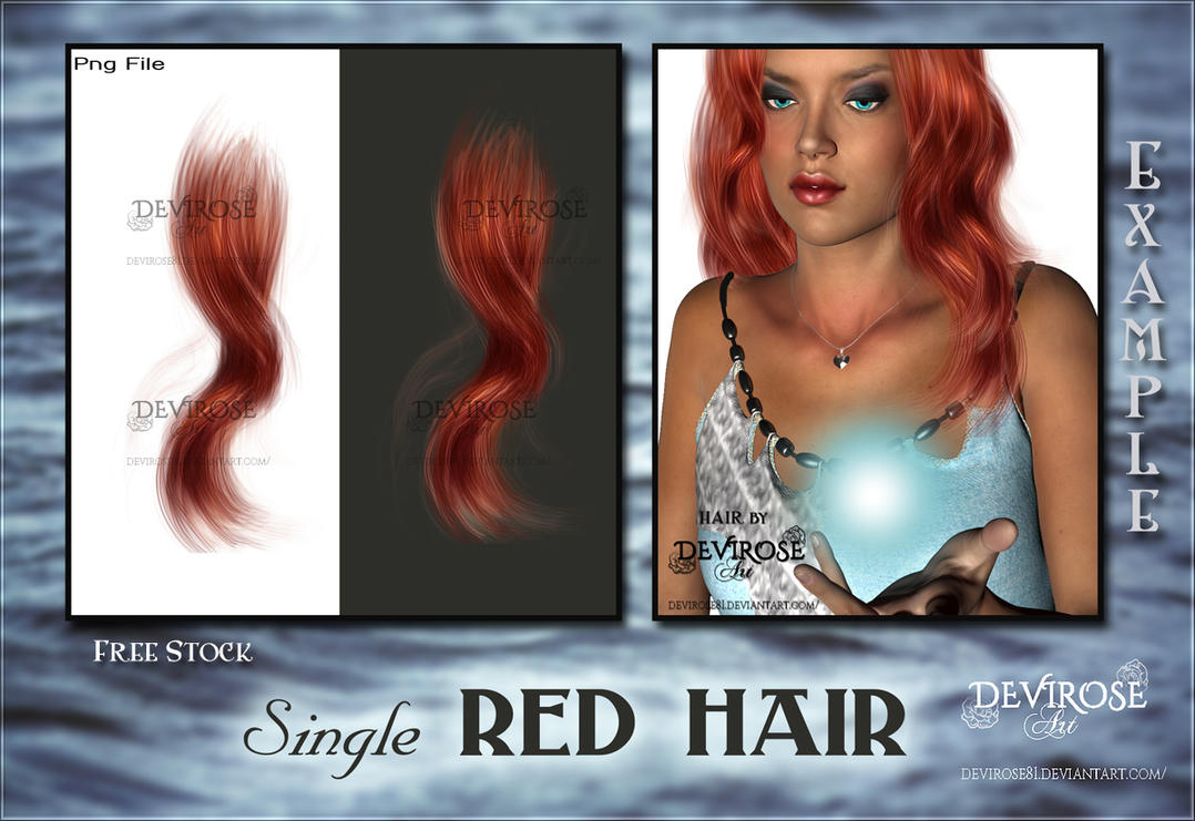 Single Red Hair Stock by Devirose81