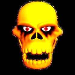 headbanging skull - front