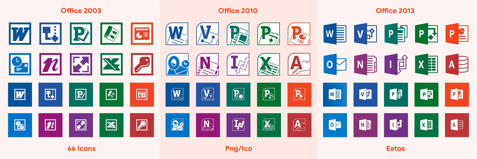 Office Flat Icons (2003, 2010, 2013)