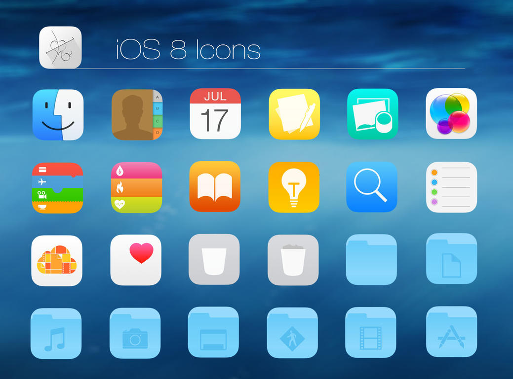 iOS 8 Icon Pack - SkinPack - Customize Your Digital World