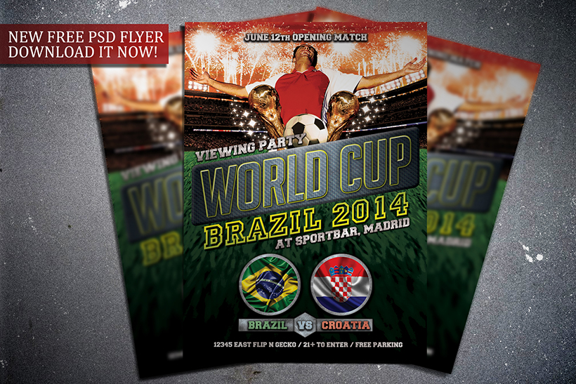 Free Soccer World Cup 2014 Flyer Template by FlipNGecko