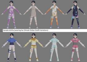 Sarada wearing Shinobi Striker variant outfits