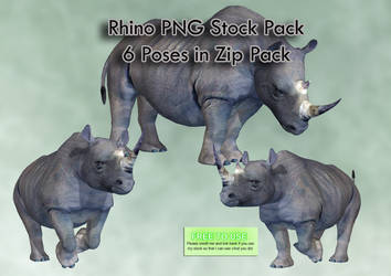 Rhino PNG Stock Pack by Roy3D