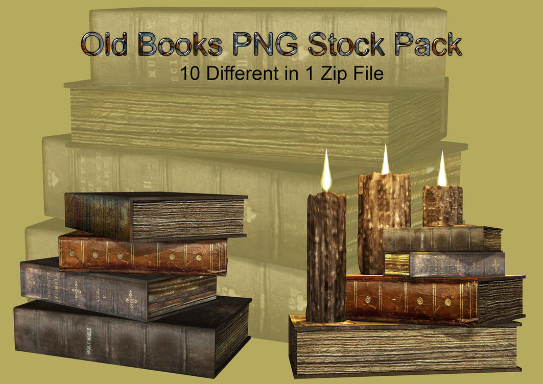 Old Books PNG Stock Pack by Roy3D