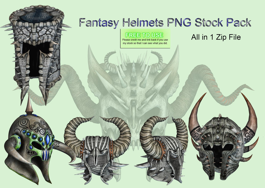 Fantasy Helmets PNG Stock Pack by Jumpfer-Stock