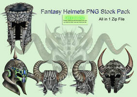 Fantasy Helmets PNG Stock Pack by Roy3D