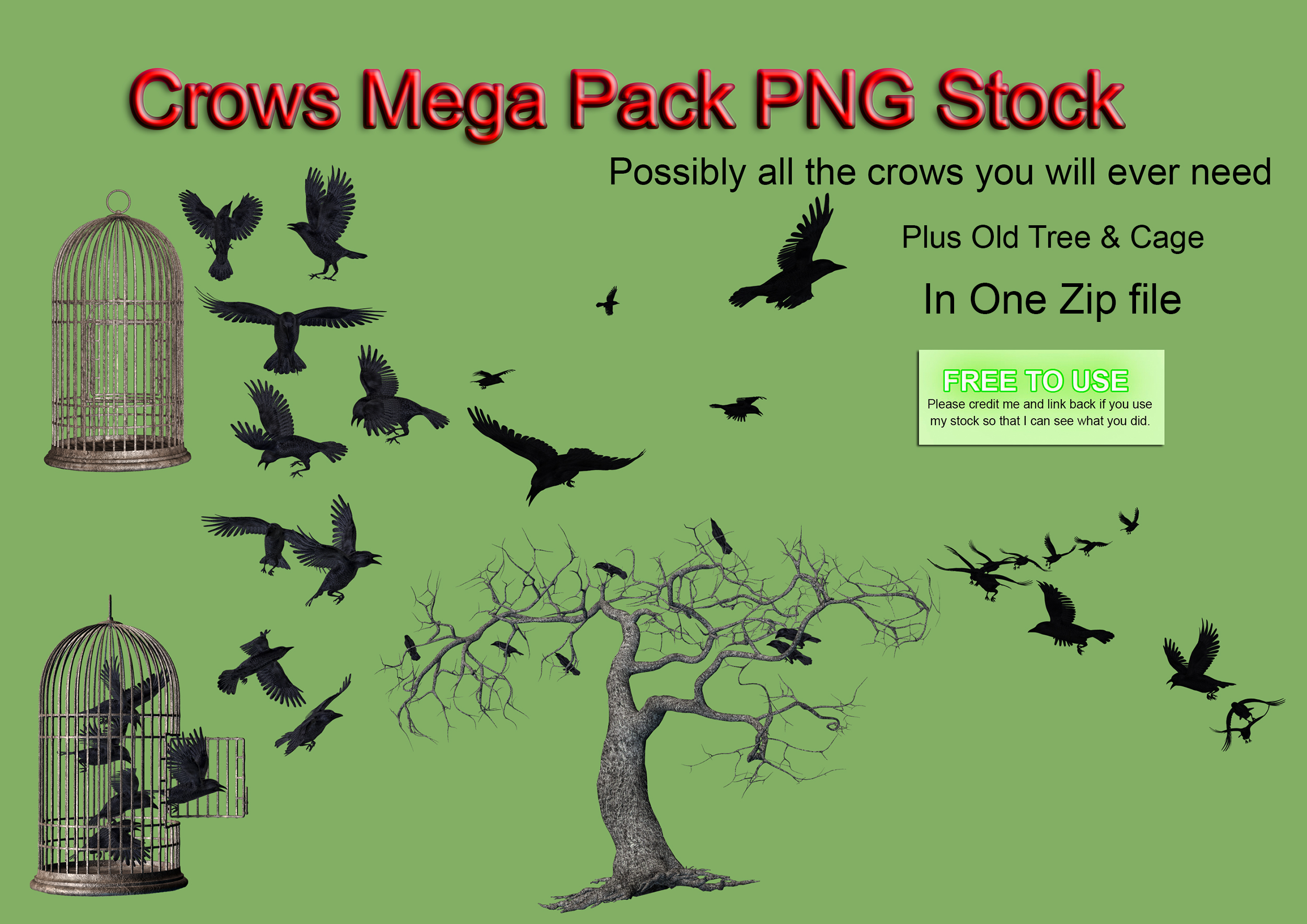 Crows Mega Pack PNG Stock by Roys-Art