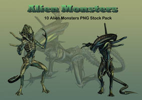Alien Monsters PNG Stock Pack by Roy3D