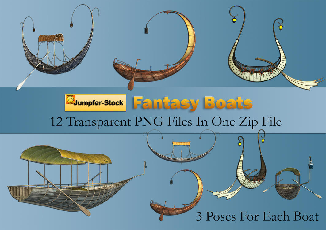 Fantasy Boats PNG Stock Pack by Roy3D