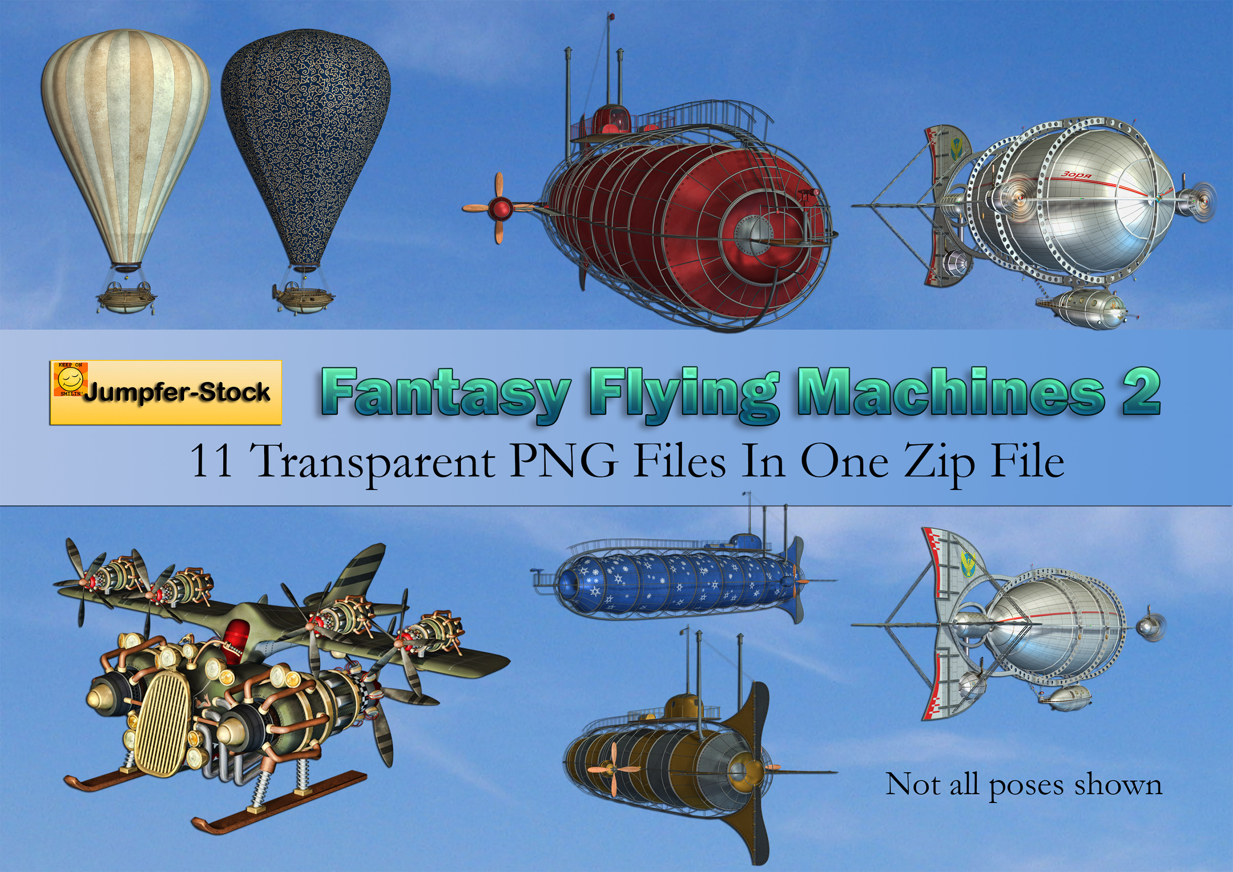 Fantasy Flying Machines PNG Stock Pack 2