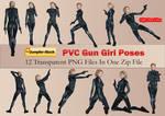 PVC Gun Girl Poses PNG Stock Pack