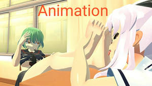 Hikage foot worship animation