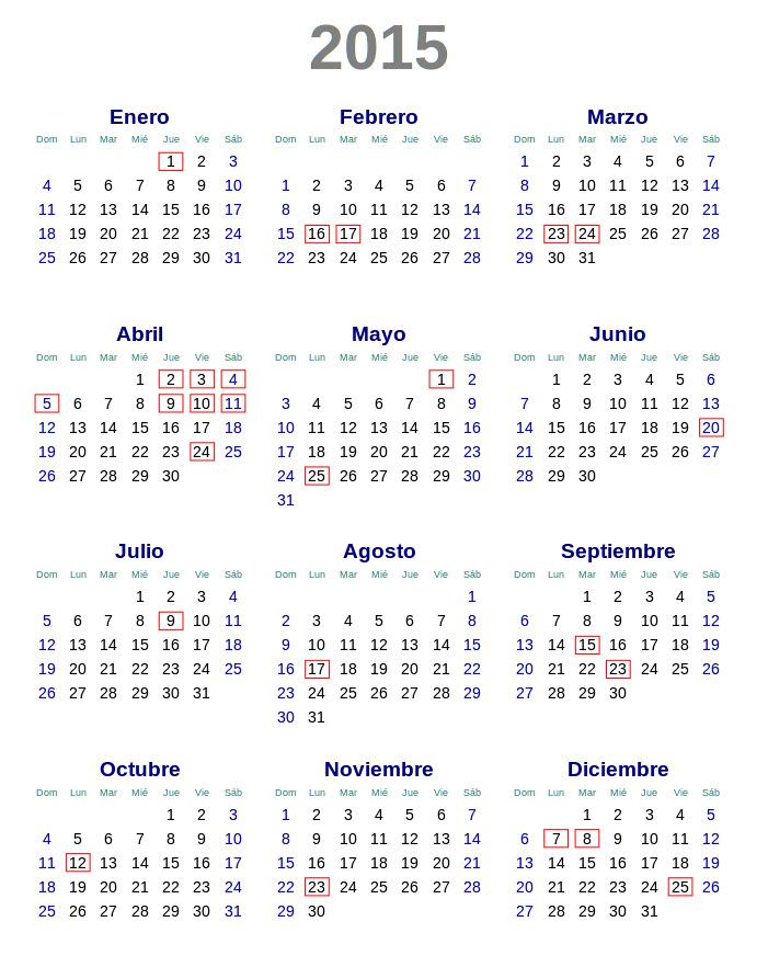 Calendario 2015 Argentina SVG by DaFeBa