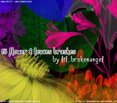 Brushes - Flowers and leaves by lilbrokenangel